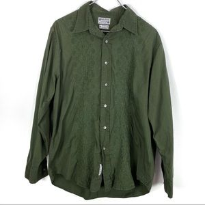 Lucky Brand Floral Embroidered Button Down Shirt